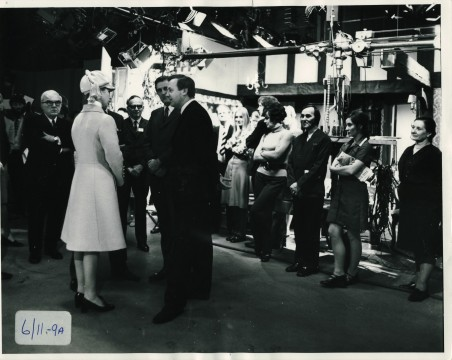 Princess Anne touring the Pebble Mill studios