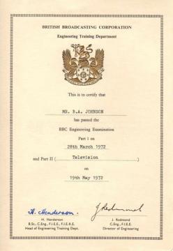 Grade C Certificate Brian Johnson