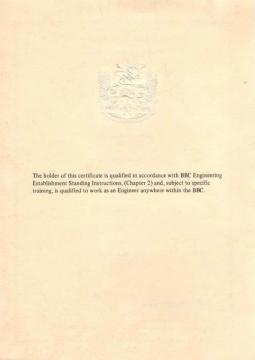 Grade C certificate reverse Brian Johnson